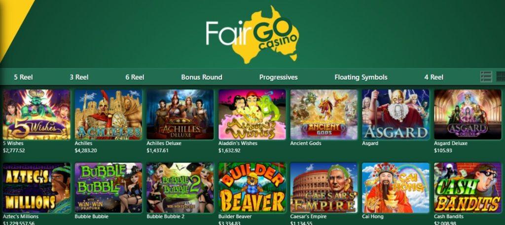 fair go casino gaming lobby pokies